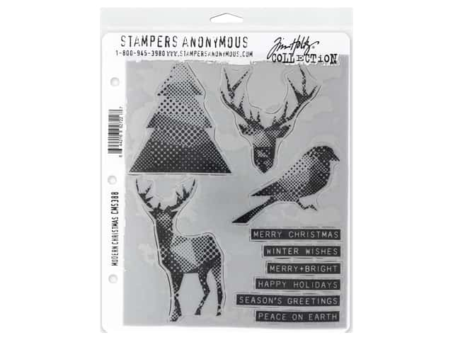 Stampers Anonymous Tim Holtz Cling Mount Stamp Set - Modern Christmas