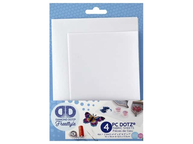 Diamond Dotz Freestyle Fabric White No Adhesive 5 in. x 7 in./4 in. x 6 in.  4 pc
