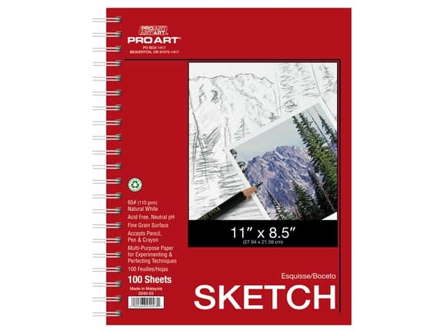 Pro Art Sketch Paper Pad 65 lb 11 in. x 8.5 in. Wire Bound 100 pc