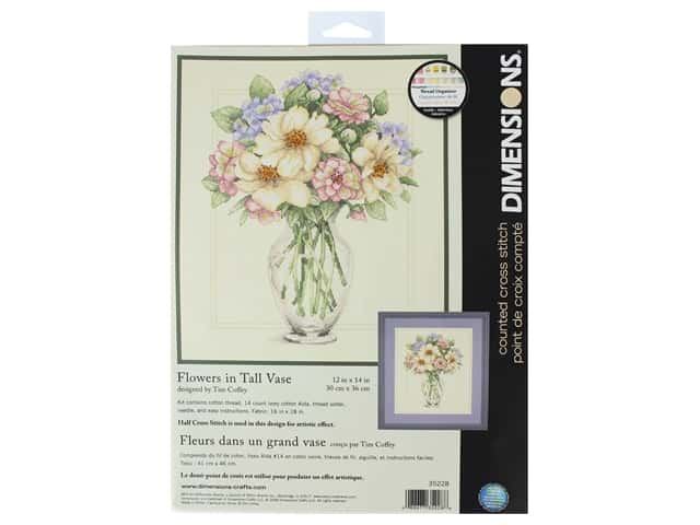Dimensions Counted Cross Stitch Kit 12 x 14 in. Flowers In Tall Vase