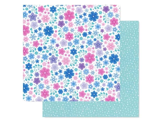 Doodlebug Collection Winter Wonderland Paper 12 in. x 12 in. Snowflowers