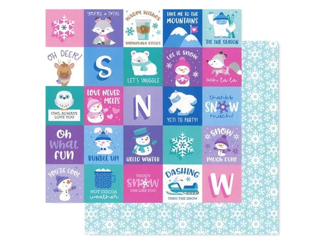 Doodlebug Collection Winter Wonderland Paper 12 in. x 12 in. Snow Much Fun