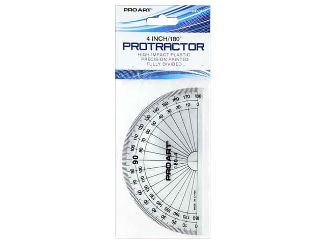 Pro Art Drafting Protractor 180 Degree 4 in. Clear