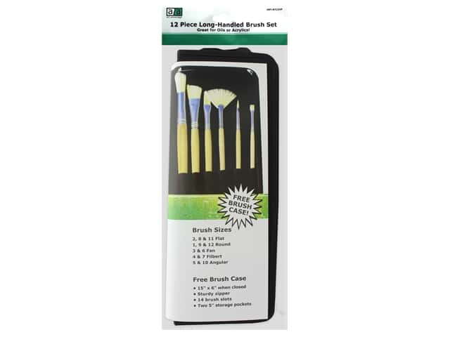 Art Advantage Brush Set White Bristle With Case 12 pc