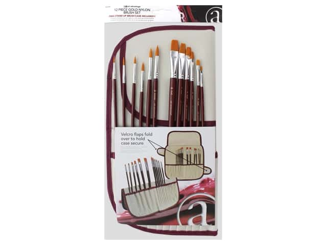 Art Advantage Gold Nylon Brush Set with Holder 12 pc.