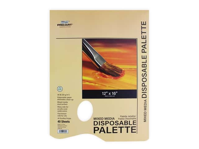 Pro Art Mixed Media Disposable Palette Pad - 12 x 16 in. 40 pc.