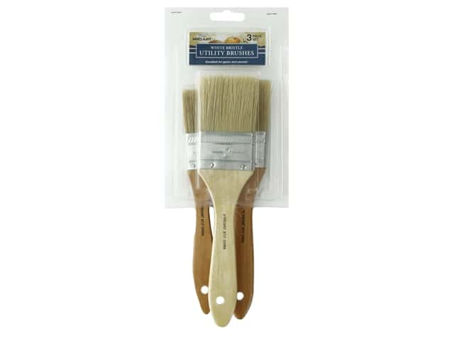 Pro Art Brush Bristle White Utility 3 pc