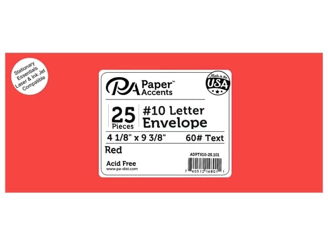 Paper Accents 4 x 9 1/4 in. Letter Envelopes 25 pc. #101 Red