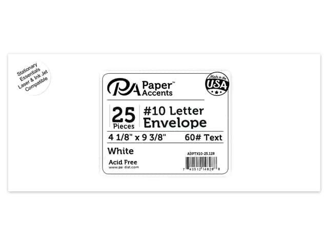 Paper Accents 4 x 9 1/4 in. Letter Envelopes 25 pc. #128 White