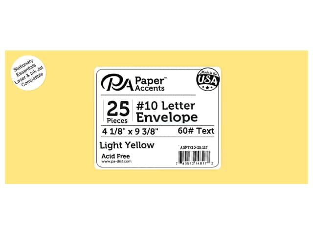 Paper Accents 4 x 9 1/4 in. Letter Envelopes 25 pc. #117 Light Yellow