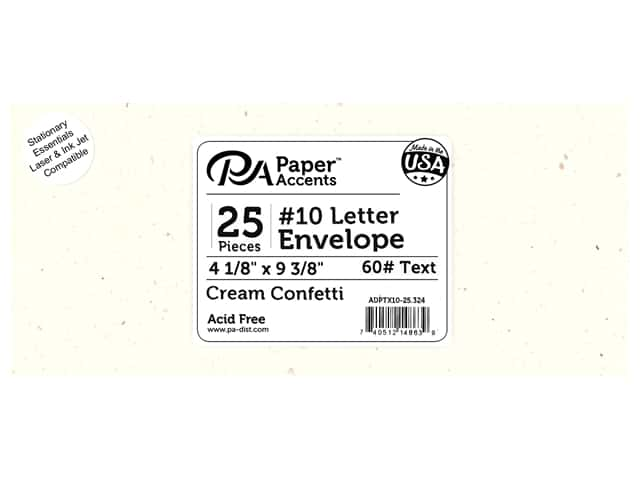 Paper Accents 4 x 9 1/4 in. Letter Envelopes 25 pc. Cream Confetti