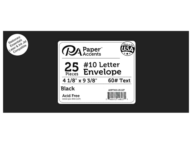 Paper Accents 4 x 9 1/4 in. Letter Envelopes 25 pc. #127 Black