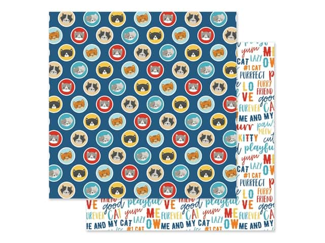 Echo Park Collection I Love My Cat Paper 12 in. x 12 in. Kittens