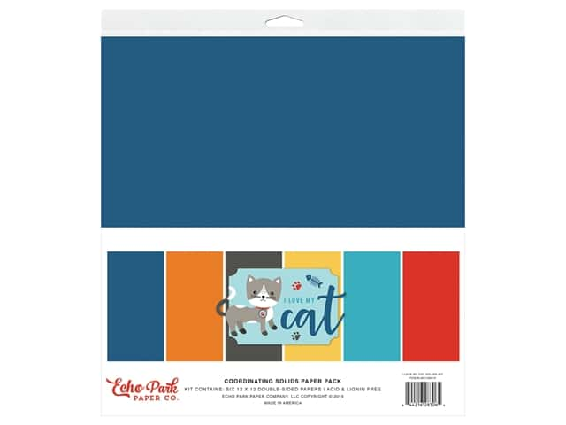 Echo Park Collection I Love My Cat Solids Kit 12 in. x 12 in.