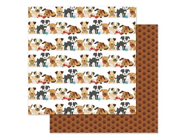 Echo Park Collection I Love My Dog Paper 12 in. x 12 in. Go Fetch