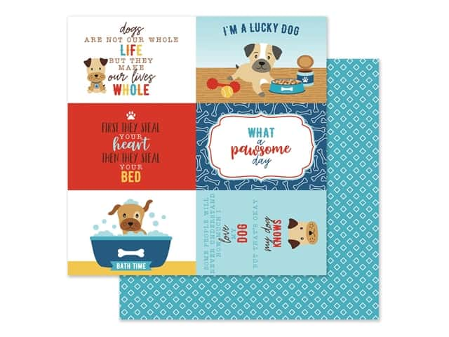 Echo Park Collection I Love My Dog Paper 12 in. x 12 in. Journal Card 4 in. x 6 in.