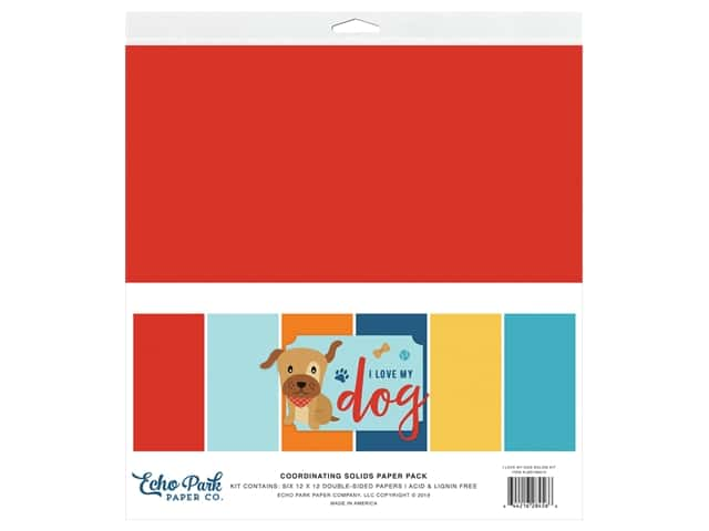 Echo Park Collection I Love My Dog Solids Kit 12 in. x 12 in.