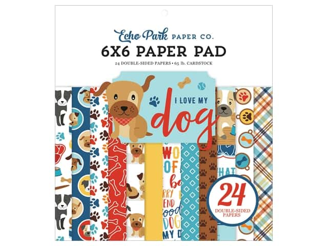Echo Park Collection I Love My Dog Paper Pad 6 in. x 6 in.