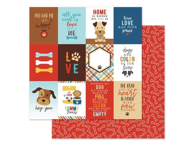 Echo Park Collection I Love My Dog Paper 12 in. x 12 in. Journal Card 3 in. x 4 in.