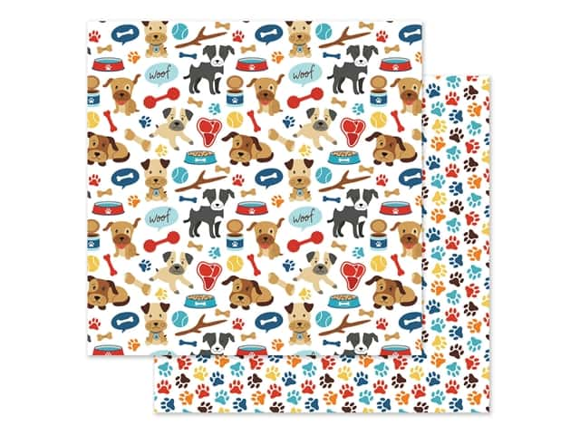 Echo Park Collection I Love My Dog Paper 12 in. x 12 in. Woof Woof