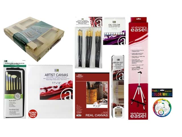 Art Advantage Oil Paint Essentials Value Pack with Field Easel