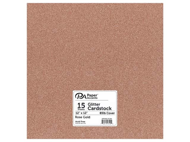 Paper Accents Glitter Cardstock 12 in. x 12 in. 85 lb Rose Gold 15 pc