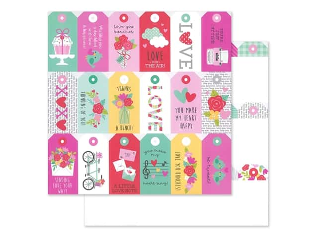 "Doodlebug Collection Love Notes Paper 12""x 12"" Kissing Tag"