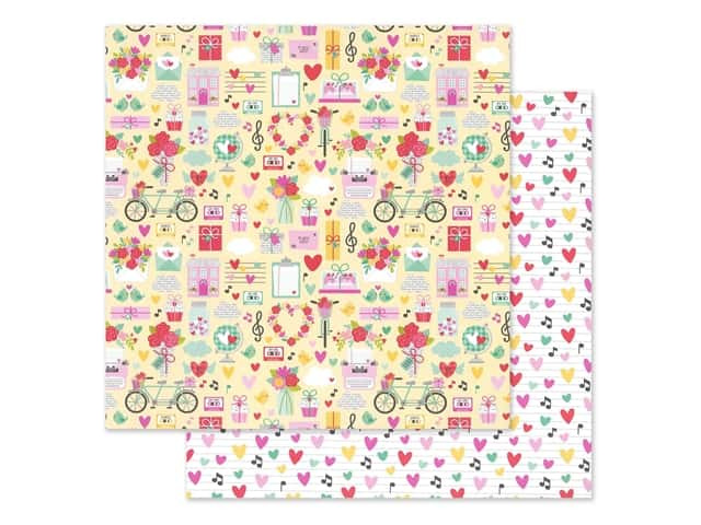 Doodlebug Collection Love Notes Paper 12 in. x 12 in. Love Notes