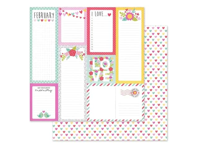 Doodlebug Collection Love Notes Paper 12 in. x 12 in. Conversation Heart