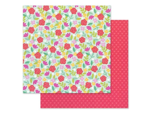 Doodlebug Collection Love Notes Paper 12 in. x 12 in. Rose Garden