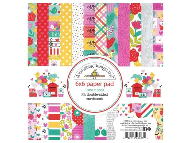 Doodlebug Collection Love Notes Paper Pad 6 in. x 6 in. Love Notes