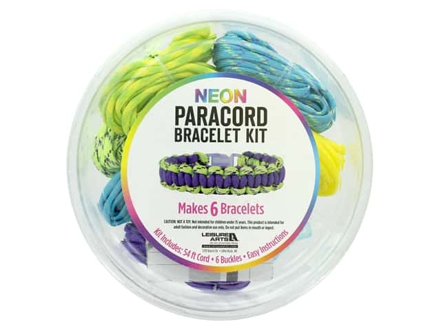 Leisure Arts Kit Neon Paracord Bracelet Yellow