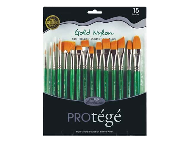 Protege Brush Gold Nylon Set Short Handle 15 pc