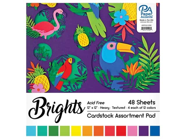 Paper Accents 12 x 12 in. Cardstock Pad 48 pc. Bright