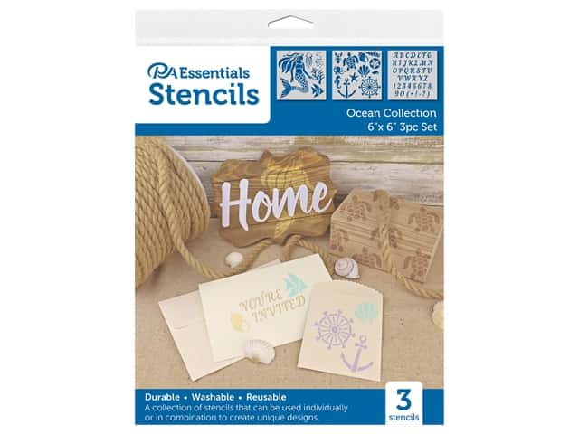 PA Essentials Stencil 6 in. x 6 in. Ocean Collection 3 pc