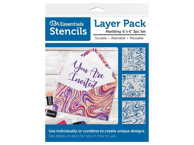 PA Essentials Stencil 6 in. x 6 in. Layer Pack Marbling 3 pc