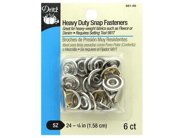 Dritz Snap Heavy Duty Size 24 Nickel 6 pc