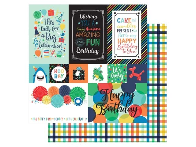 Echo Park Its Your Birthday Boy Collection Paper 12 in. x 12 in. Journaling Cards Multi