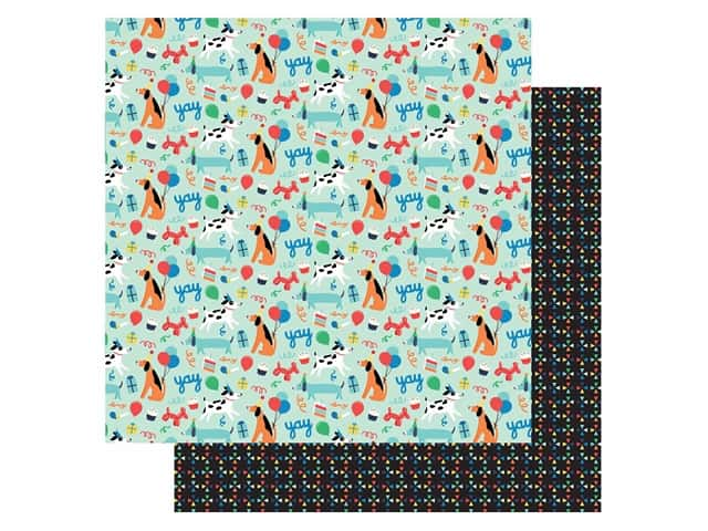 Echo Park Its Your Birthday Boy Collection Paper 12 in. x 12 in. Dog Party