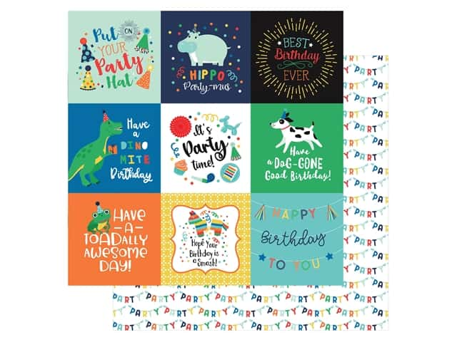 Echo Park Its Your Birthday Boy Collection Paper 12 in. x 12 in. Journaling Cards 4 in. x 4 in.