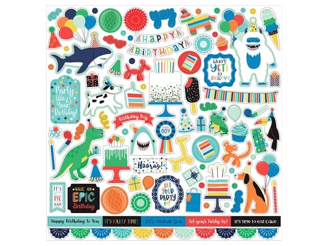 Echo Park Its Your Birthday Boy Collection Sticker 12 in. x 12 in. Elements