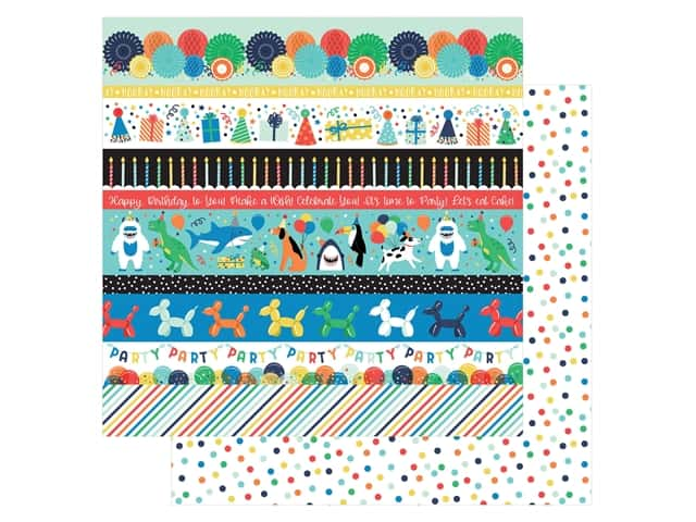 Echo Park Its Your Birthday Boy Collection Paper 12 in. x 12 in. Border Strips