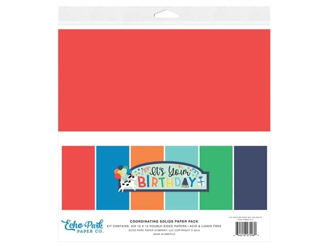 Echo Park Its Your Birthday Boy Collection Solids Kit 12 in. x 12 in.