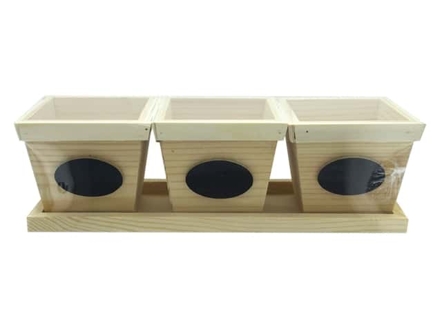 Sierra Pacific Crafts Wood 3 Flower Pots In Tray With Chalkboard Label