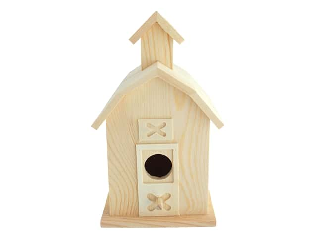 """Sierra Pacific Crafts Wood Birdhouse Barn 5.38""""x 9""""x 4"""" Unfinished"""