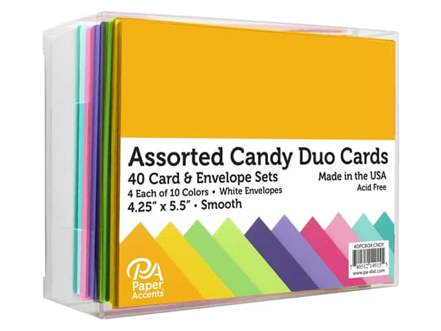 Paper Accents Blank Card & Envelopes - 4 1/4 x 5 1/2 in. - Candy Duo Assorted 40 pc.