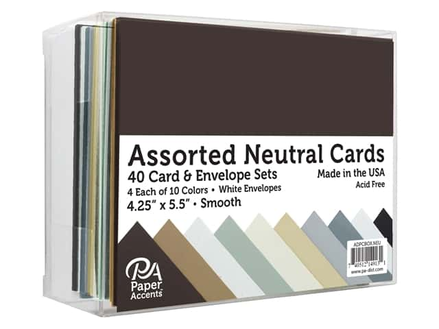 Paper Accents Blank Card & Envelopes - 4 1/4 x 5 1/2 in. - Neutral Assorted 40 pc.