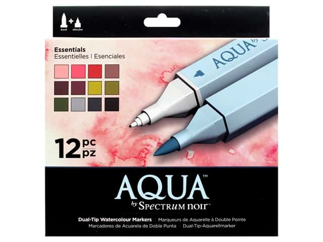 Crafter's Companion Spectrum Noir Aqua Watercolor Marker Essentials 12pc