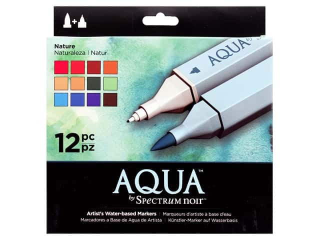 Crafter's Companion Spectrum Noir Aqua Watercolor Marker Nature 12pc