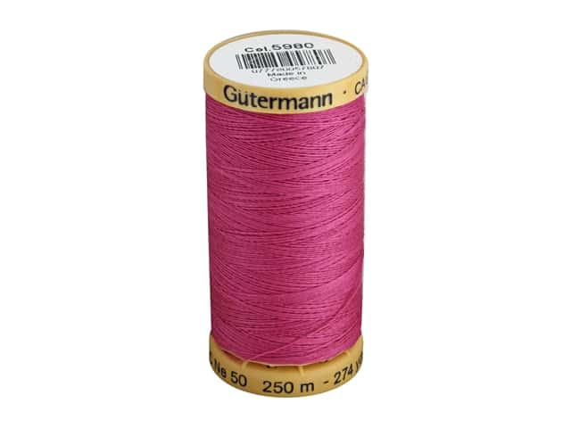 Gutermann 100% Natural Cotton Sewing Thread 273 yd. #5980 Bright Pink